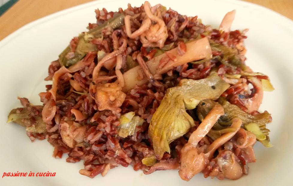 riso rosso con carciofi e calamari, ricette con riso rosso, riso con carciofi, ricette con carciofi, ricette con calamari