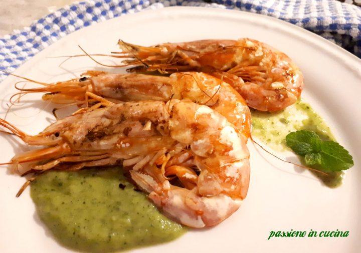 crema di zucchine, vellutata di zucchine, ricette con le zucchine, gamberoni, ricette con i gamberoni, secondi piatti di pesce