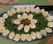 Uova di quaglia ai piselli