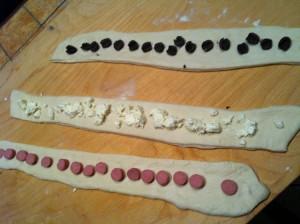 strisce di pasta farcite