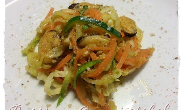 Spaghetti tricolore alle cozze