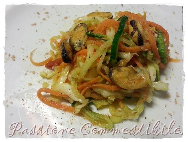 spaghetti tricolore alle cozze1