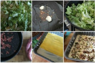 lasagne scarola, scamorza e salsiccia