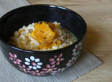 Zuppa di fregola e zucca aromatizzata al forno