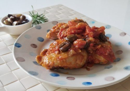 Sovracosce di pollo con pomodorini e olive taggiasche