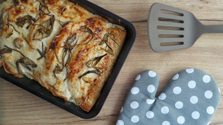 Crespelle al forno con carciofi, zucca e funghi
