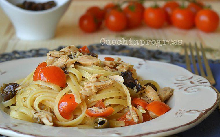 Linguine tonno e olive taggiasche al profumo di origano