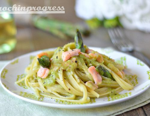 Linguine crema di asparagi e salmone