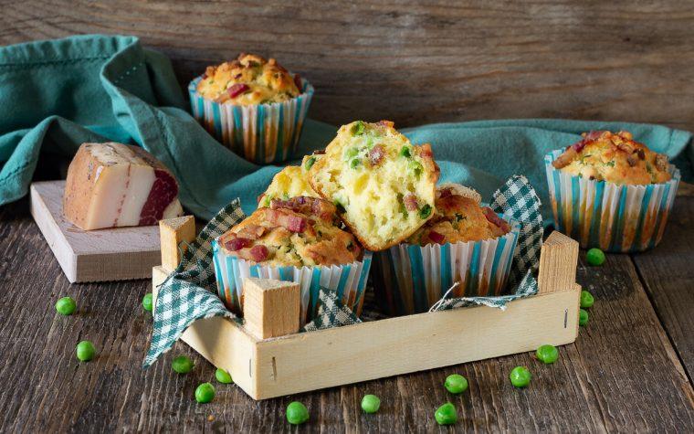 Muffin salati guanciale e piselli