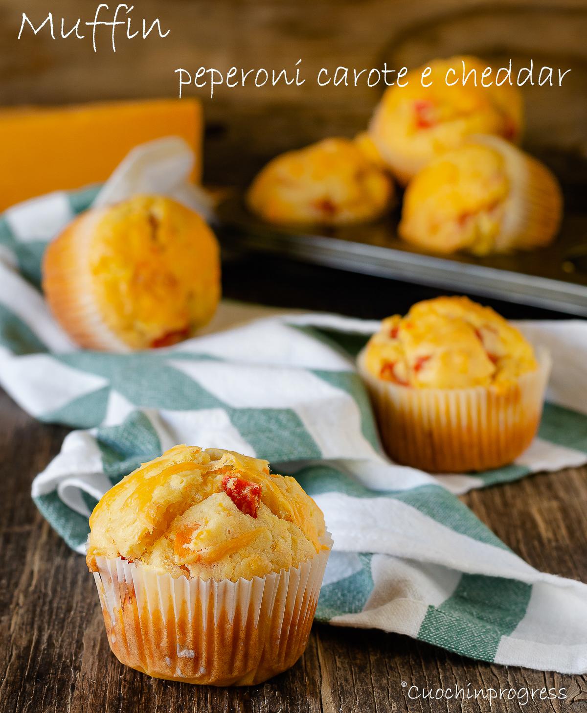 muffin peperoni carote e cheddar