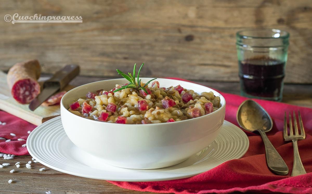 risotto lenticchie e salame