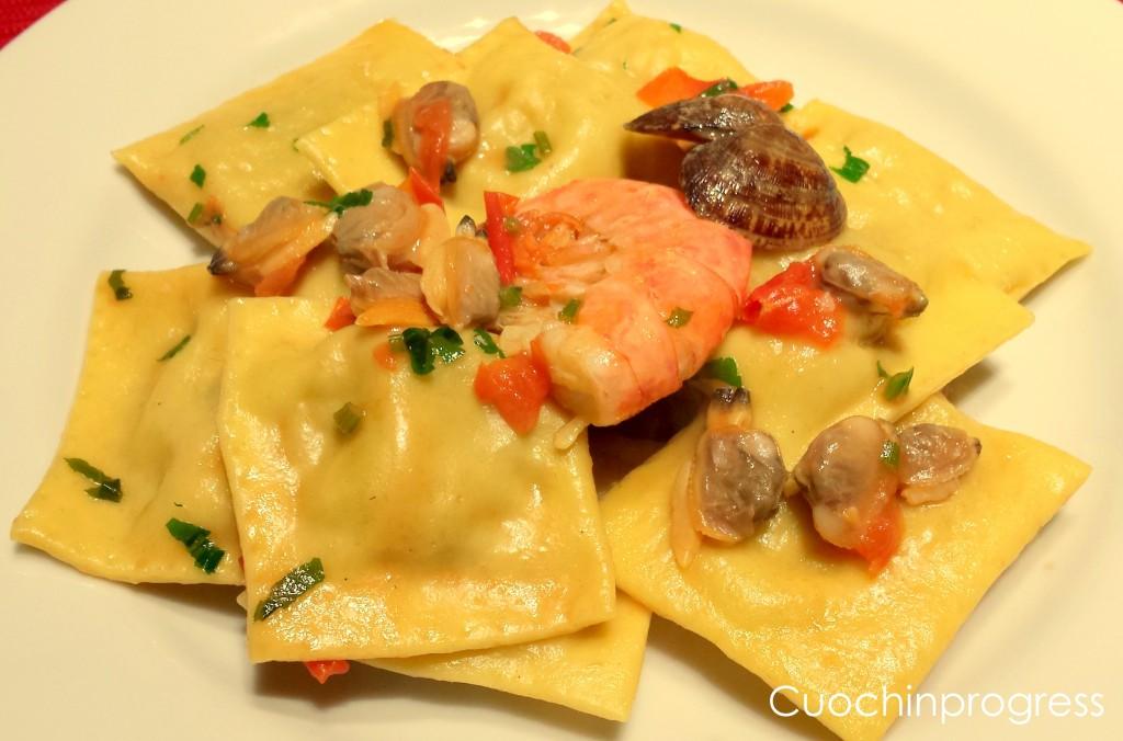 Ravioli gamberoni e patate