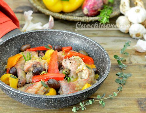 Coniglio peperoni e olive