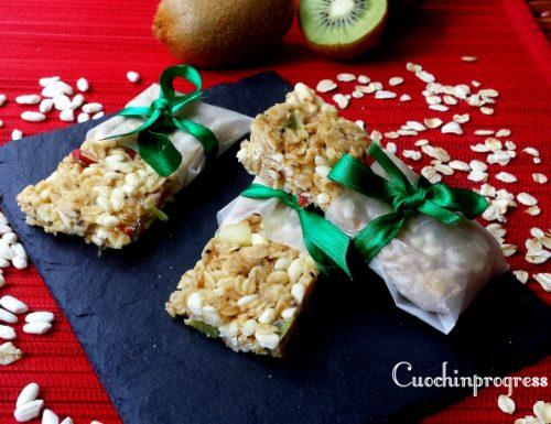 Barrette cereali, kiwi e cioccolato bianco