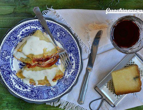 Crepes con fonduta di Castelmagno e speck
