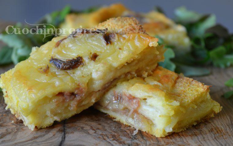 Torta di pancarrè con mozzarella e alici
