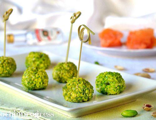 Palline salmone e pistacchi
