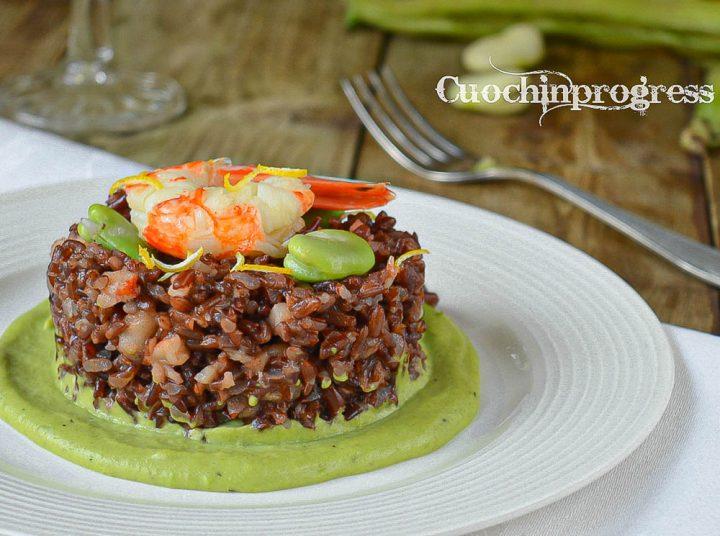 riso rosso con gamberoni fave e limone