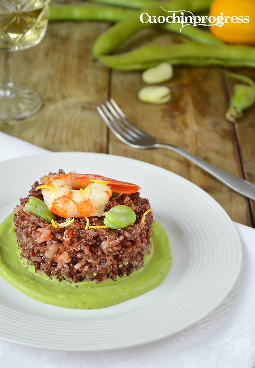 riso rosso con gamberoni fave