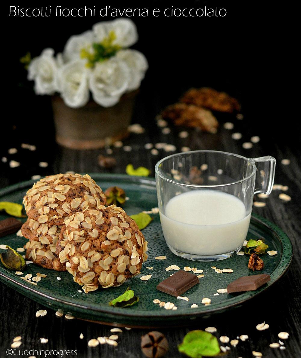 biscotti fiocchi d'avena e cioccolato