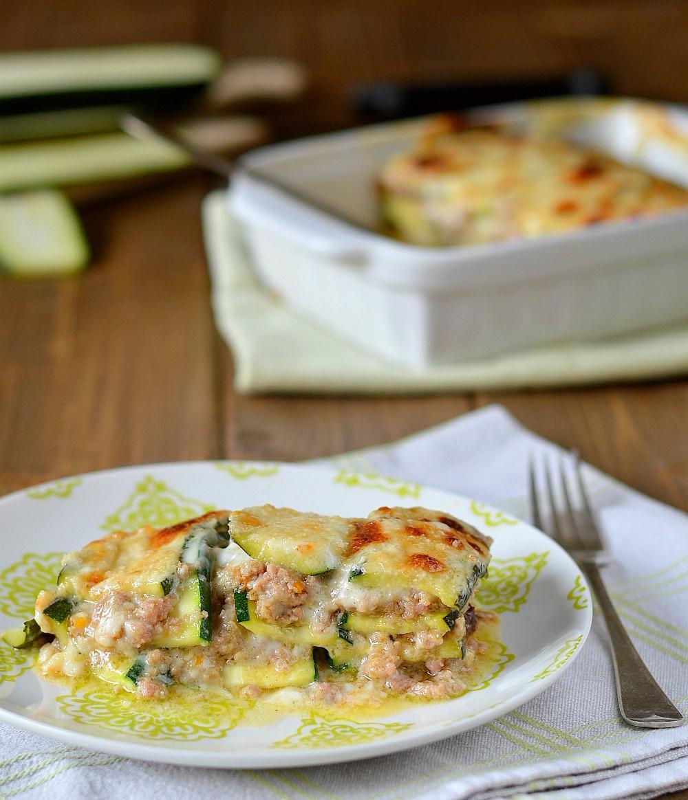 Lasagne di Zucchine al Ragù Bianco e Menta