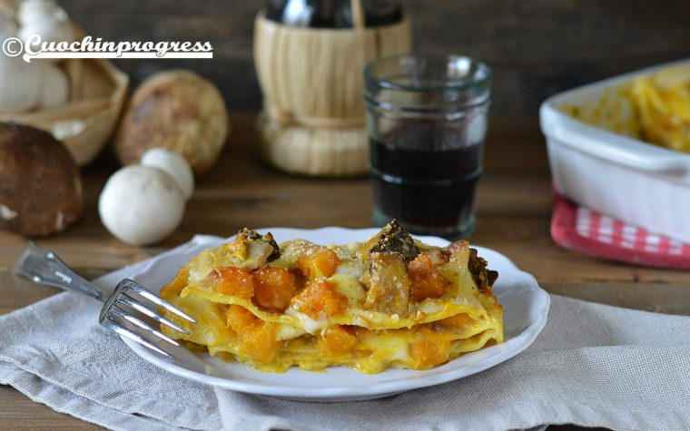 Lasagne zucca, funghi e scamorza