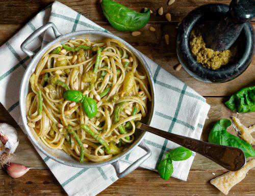 Linguine al pesto patate e fagiolini