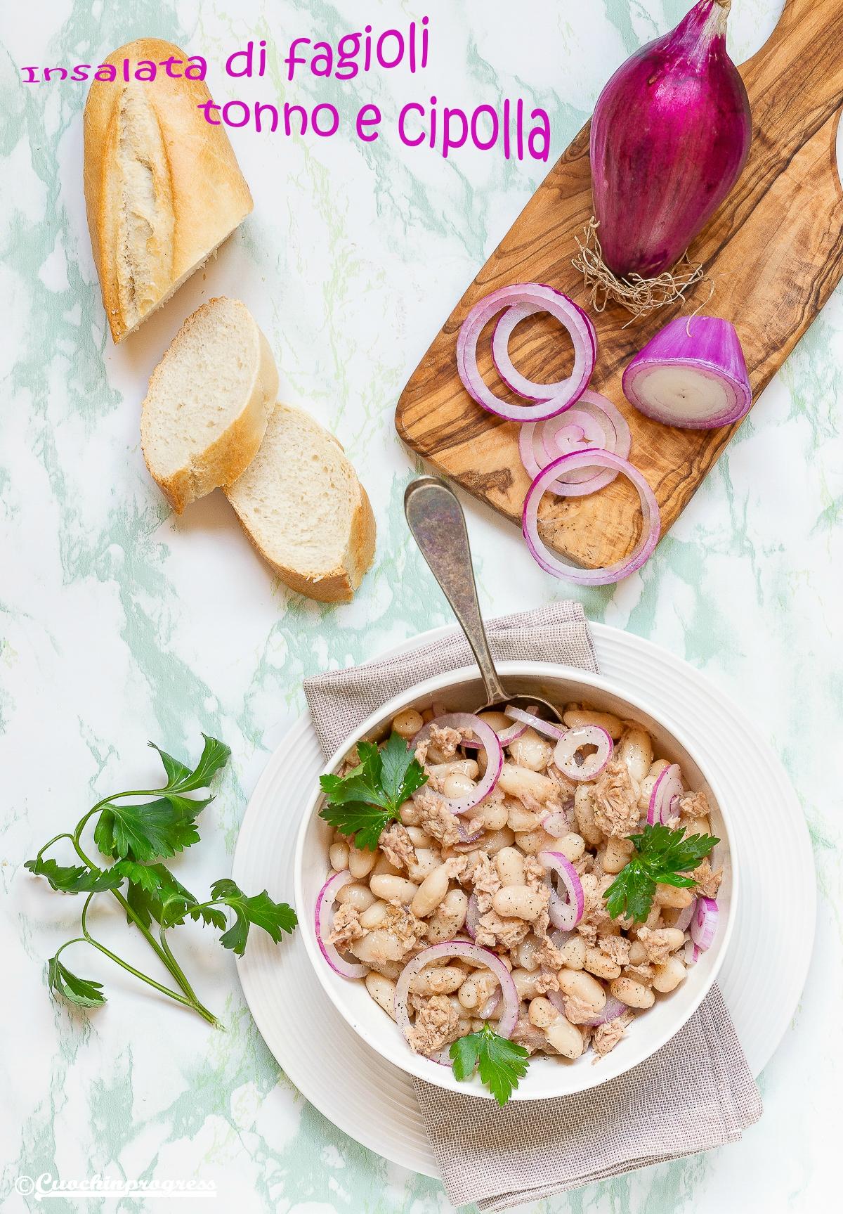 insalata di fagioli tonno e cipolla