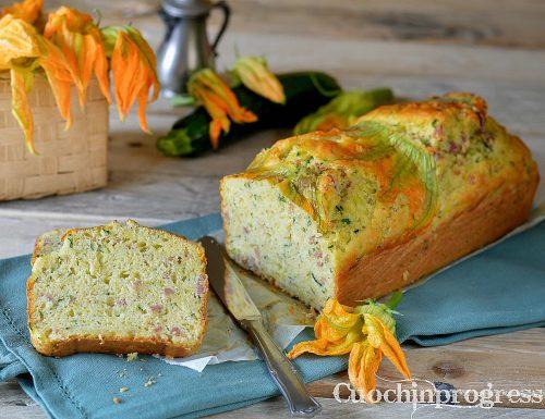 Plumcake zucchine salsicce e fiori di zucca