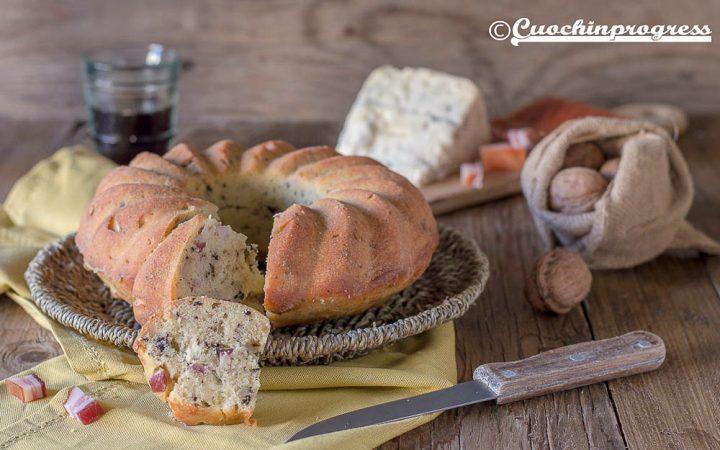 ciambella salata gorgonzola pancetta e noci
