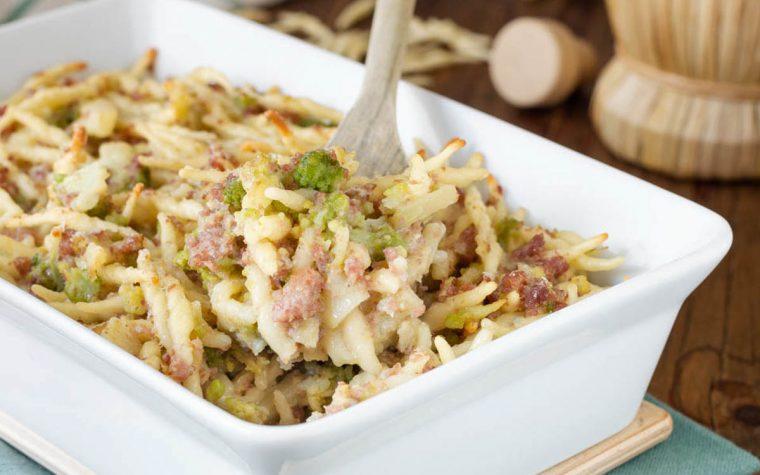 Trofie al forno con prosciutto broccolo e gorgonzola
