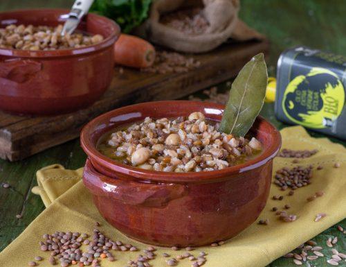 Zuppa di farro lenticchie e ceci