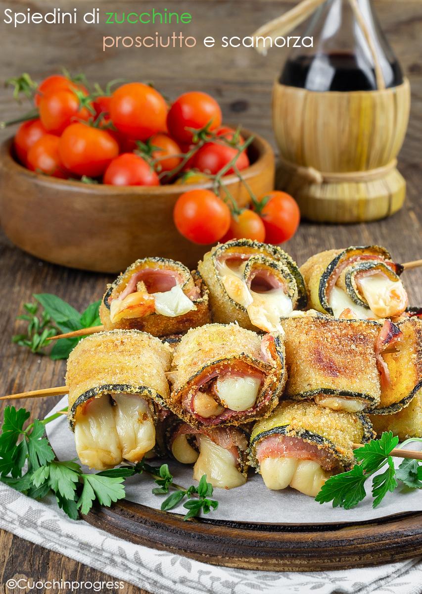 spiedini di zucchine prosciutto e mozzarella