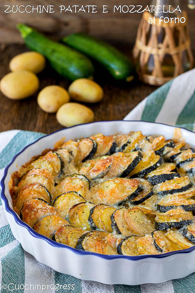 zucchine patate e mozzarella al forno