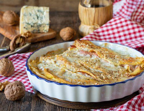 Crepes ai formaggi prosciutto e noci