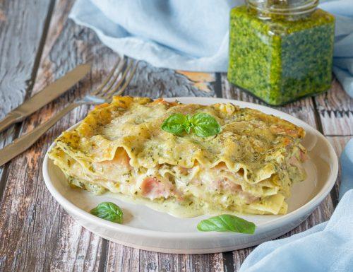 Lasagne al pesto prosciutto e mozzarella