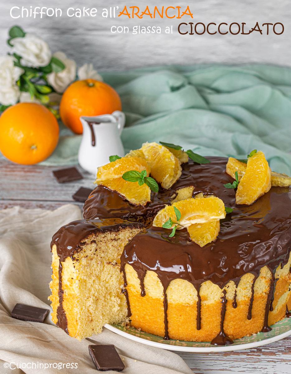 chiffon cake all'arancia con glassa al cioccolato
