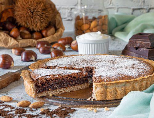 Crostata di castagne con mandorle, cioccolato e caffè
