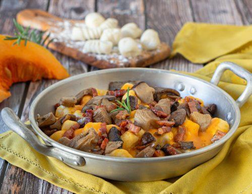 Gnocchi di ricotta con crema di zucca funghi e pancetta