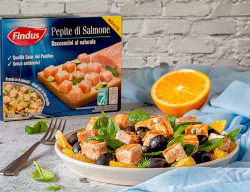 Insalata di salmone con arance e spinacini