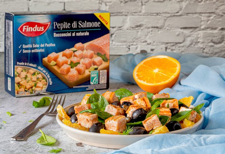 insalata di salmone arance e spinacini