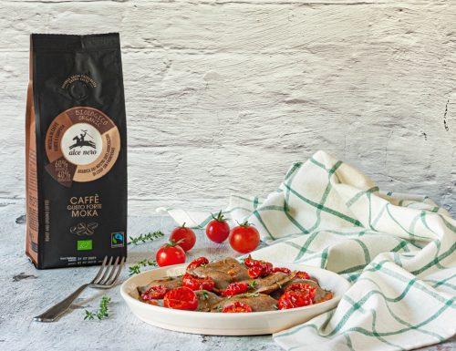 Ravioli al caffè con ricotta e pomodorini confit
