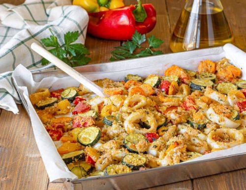 Calamari e verdure gratinati