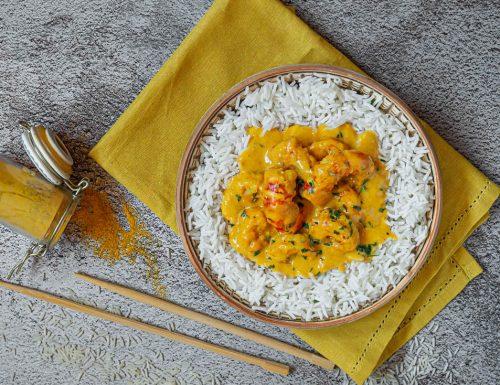 Riso basmati con gamberoni al latte di cocco e curry