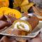 ROTOLO DOLCE ALLA ZUCCA con crema cheesecake e noci