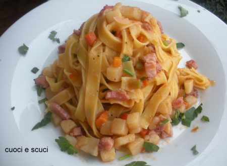 Tagliatelle pancetta e patate