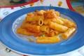 pasta con pomodoro, mandorle e pane fritto, ricetta primo