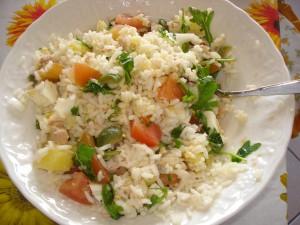 insalata di riso con tonno pomodori rucola e patate