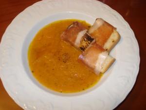 crema di zucca e patate con crostini al San Daniele