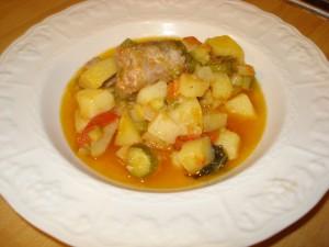 zuppa di patate zucchine e cervellatine